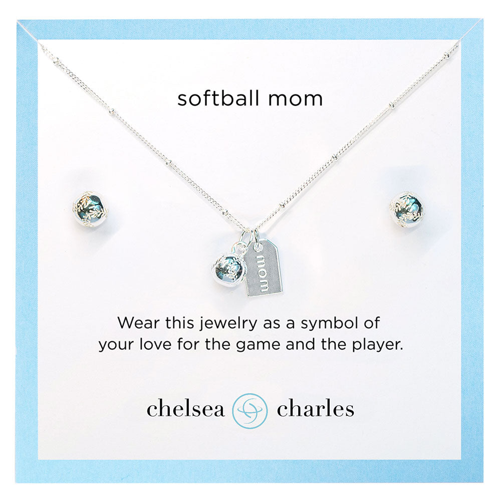 CC Sport Silver Softball Mom Necklace and Earrings Gift Set by Chelsea Charles