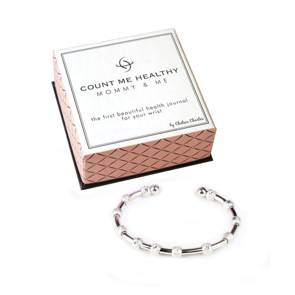 Count Me Healthy Mommy and Me Silver Journal Bracelet