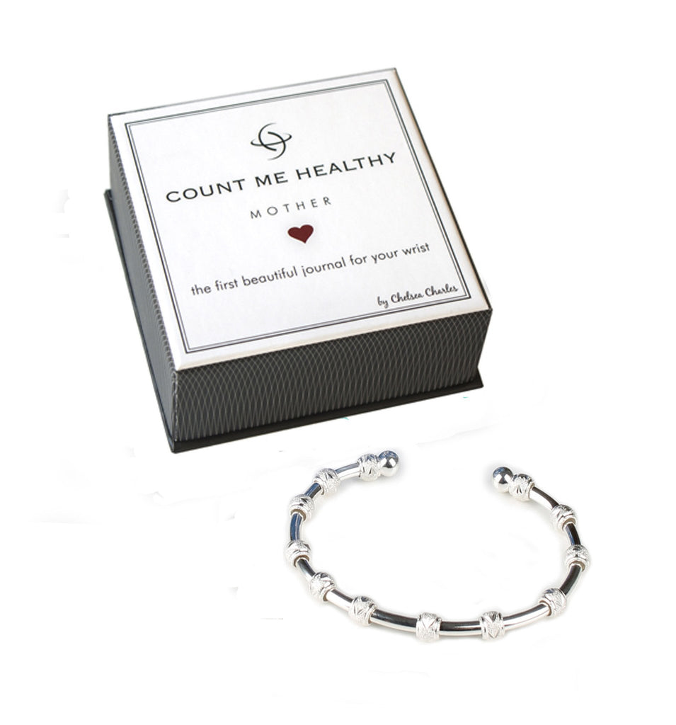 Count Me Healthy Mother Silver Journal Bracelet by Chelsea Charles
