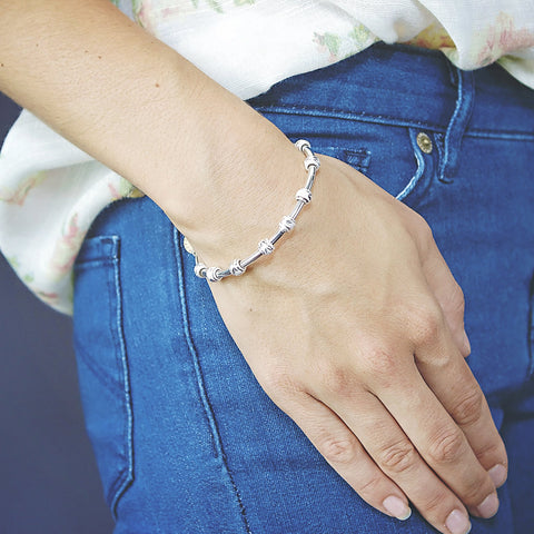 Count Me Healthy Daughter silver bracelet by Chelsea Charles