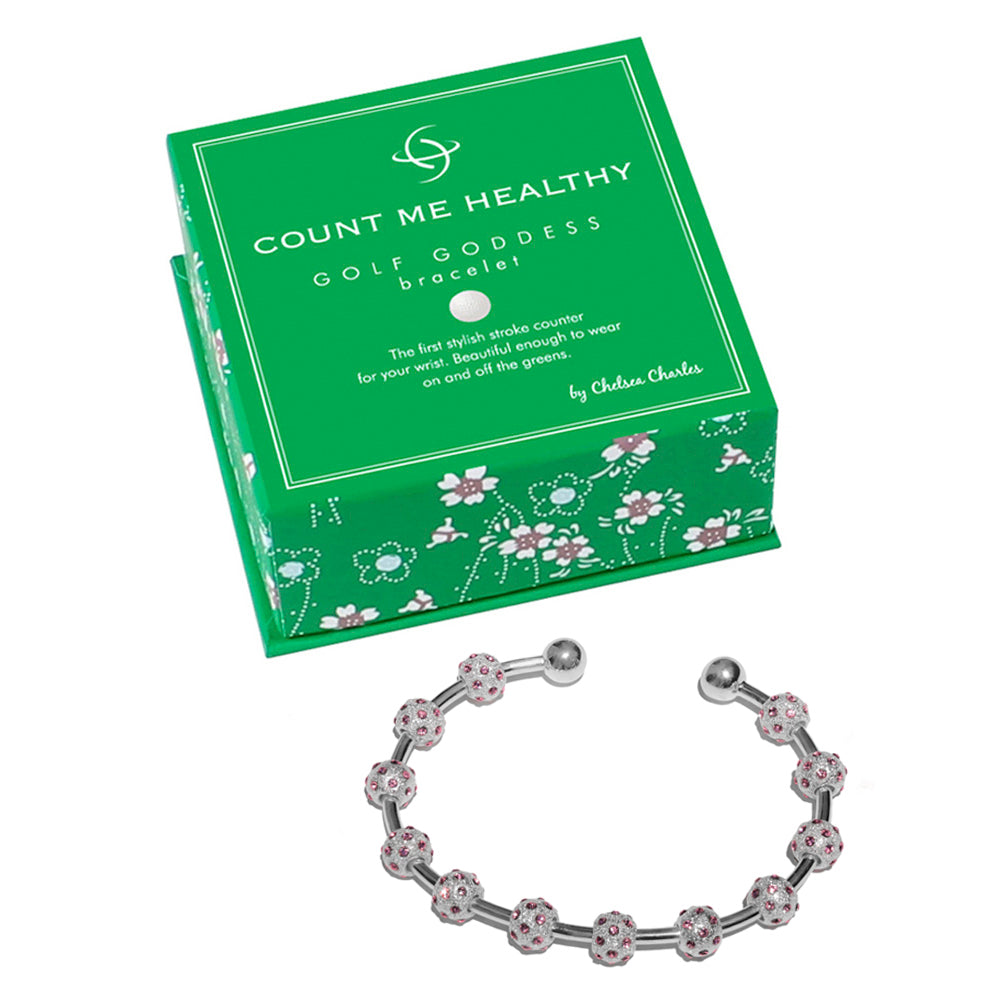 Golf Goddess Silver and Pink Crystal Score Counter Bracelet by Chelsea Charles