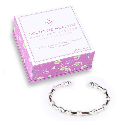 Count Me Healthy Happy and Blessed Silver Journal Bracelet