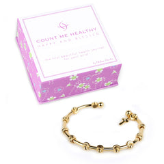 Happy and Blessed Gold Bracelet with Cross Charm