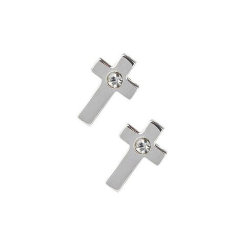 Silver Cross Studs with Diamond  Center