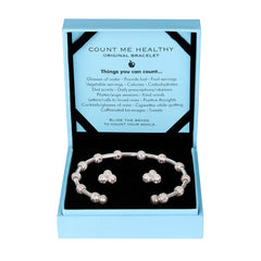 Count Me Healthy Gift Set With Original Silver Bracelet & Crystal Earrings