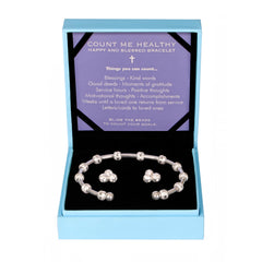 Happy and Blessed Gift Set - Silver Journal Bracelet and Crystal Cluster Earrings