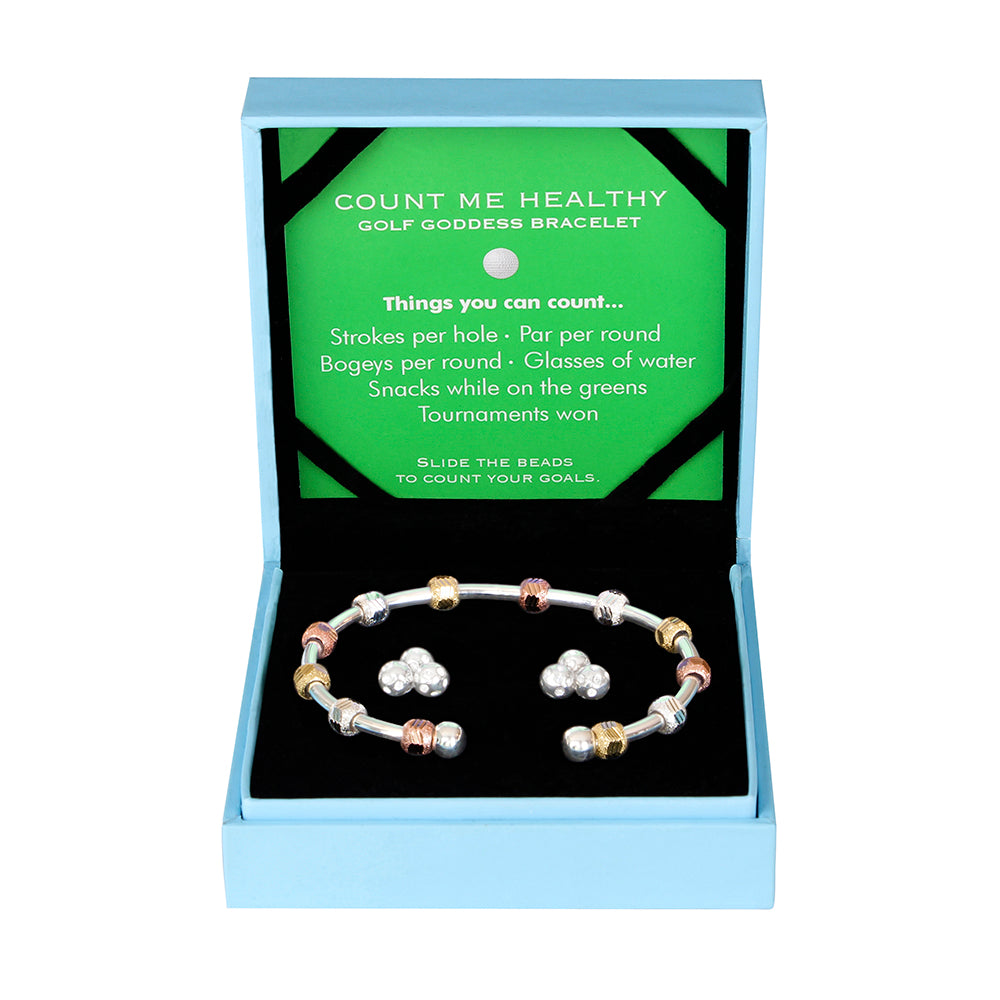 Golf Goddess Gift Set - Silver Tricolor Stroke Counter Bracelet and Crystal Cluster Earrings by Chelsea Charles