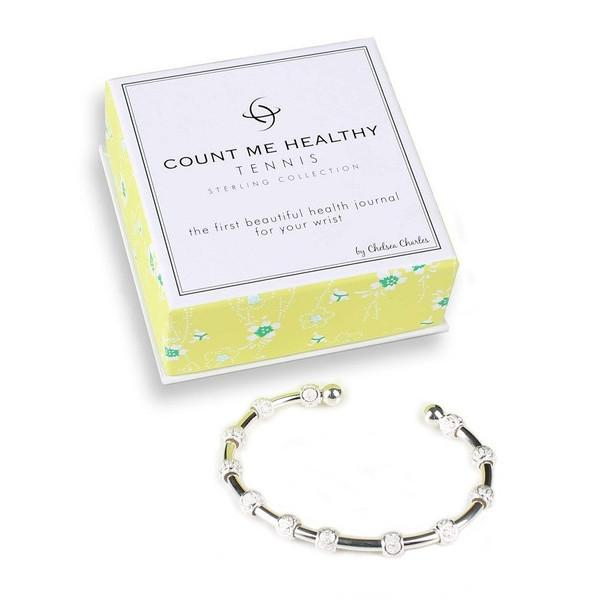 Count Me Healthy Silver Tennis Journal Bracelet by Chelsea Charles