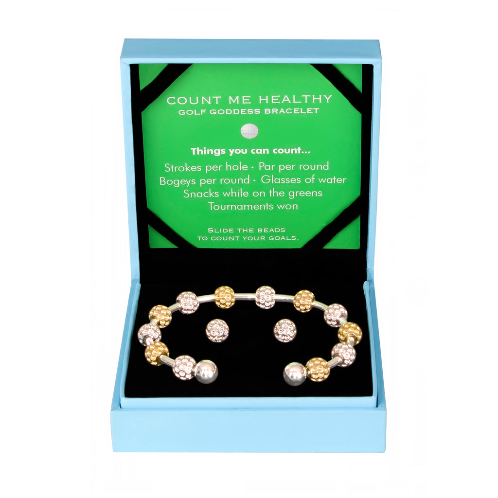 Golf Goddess Gift Set - Two-Tone Golf Ball Bead Stroke Counter Bracelet and Silver Golf Ball Earrings