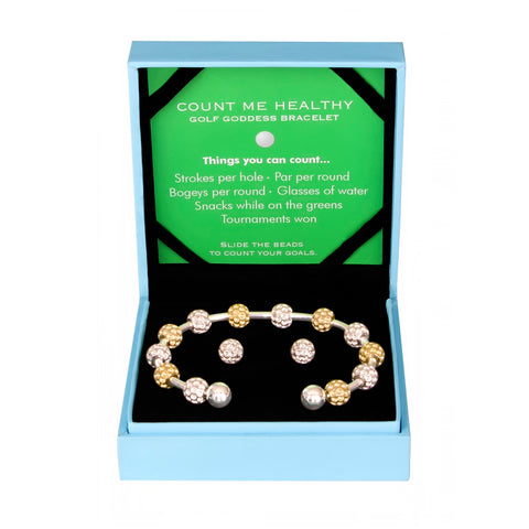 Golf Goddess Gift Set - Two-Tone Golf Ball Bead Bracelet & Silver Golf Ball Earrings