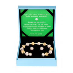 Golf Goddess Gift Set Featuring Two-Tone Golf Ball Bead Bracelet & Golf Ball Earrings