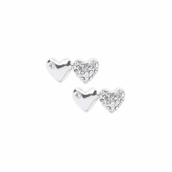 Two Heart Silver and Crystal Stud Earrings by Chelsea Charles