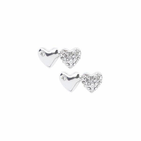 Two Heart Silver and Crystal Stud Earrings