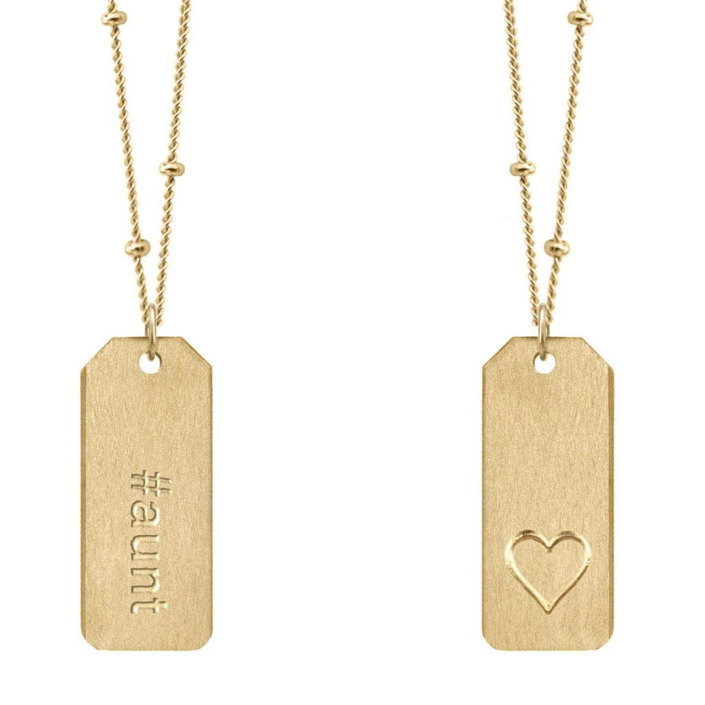 Chelsea Charles #aunt gold Love Tag necklace