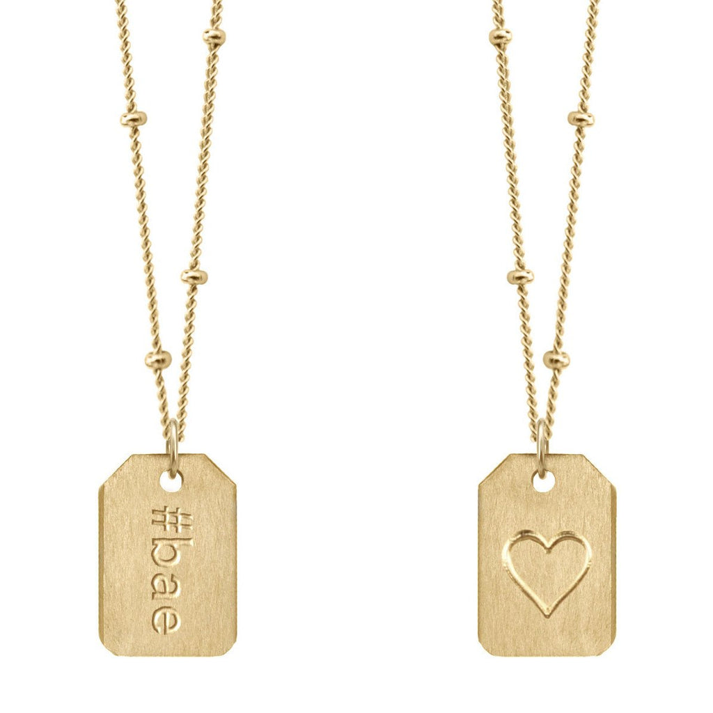 Chelsea Charles #bae gold Love Tag necklace