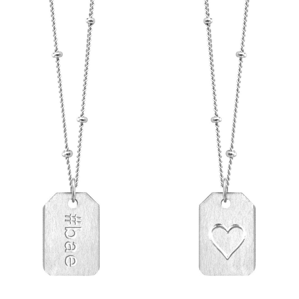 Chelsea Charles #bae sterling silver Love Tag necklace