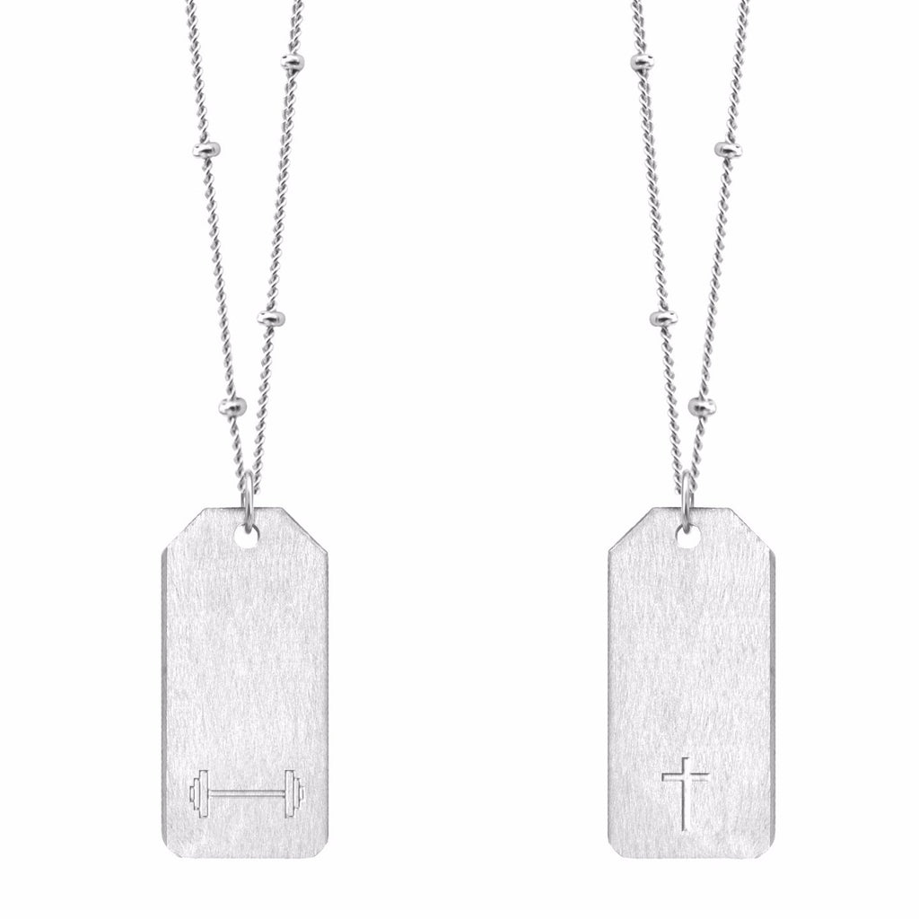 Barbell Symbol + Cross Love Tag Necklace