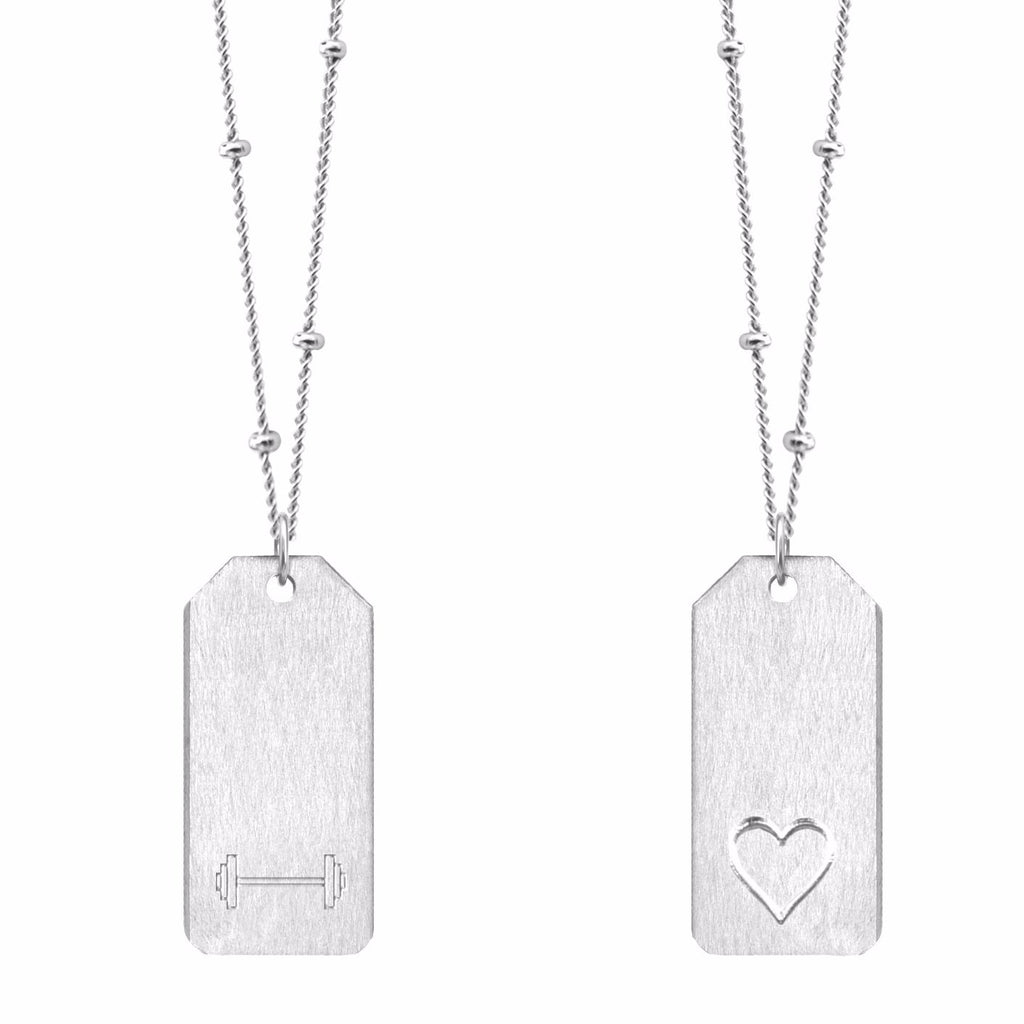 Barbell Symbol + Heart Love Tag Necklace