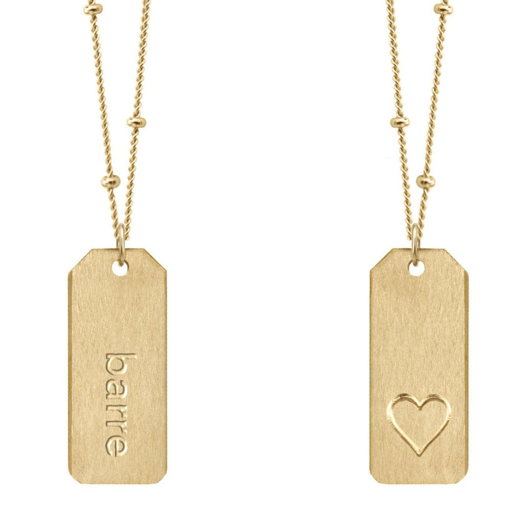 Chelsea Charles barre gold Love Tag necklace