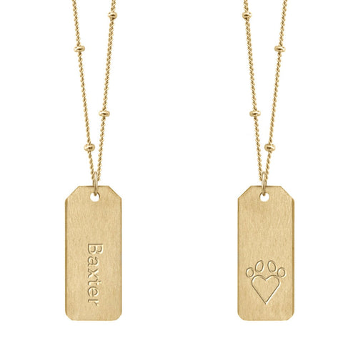 Love Tag Paw Print Necklace - CUSTOM PET'S NAME