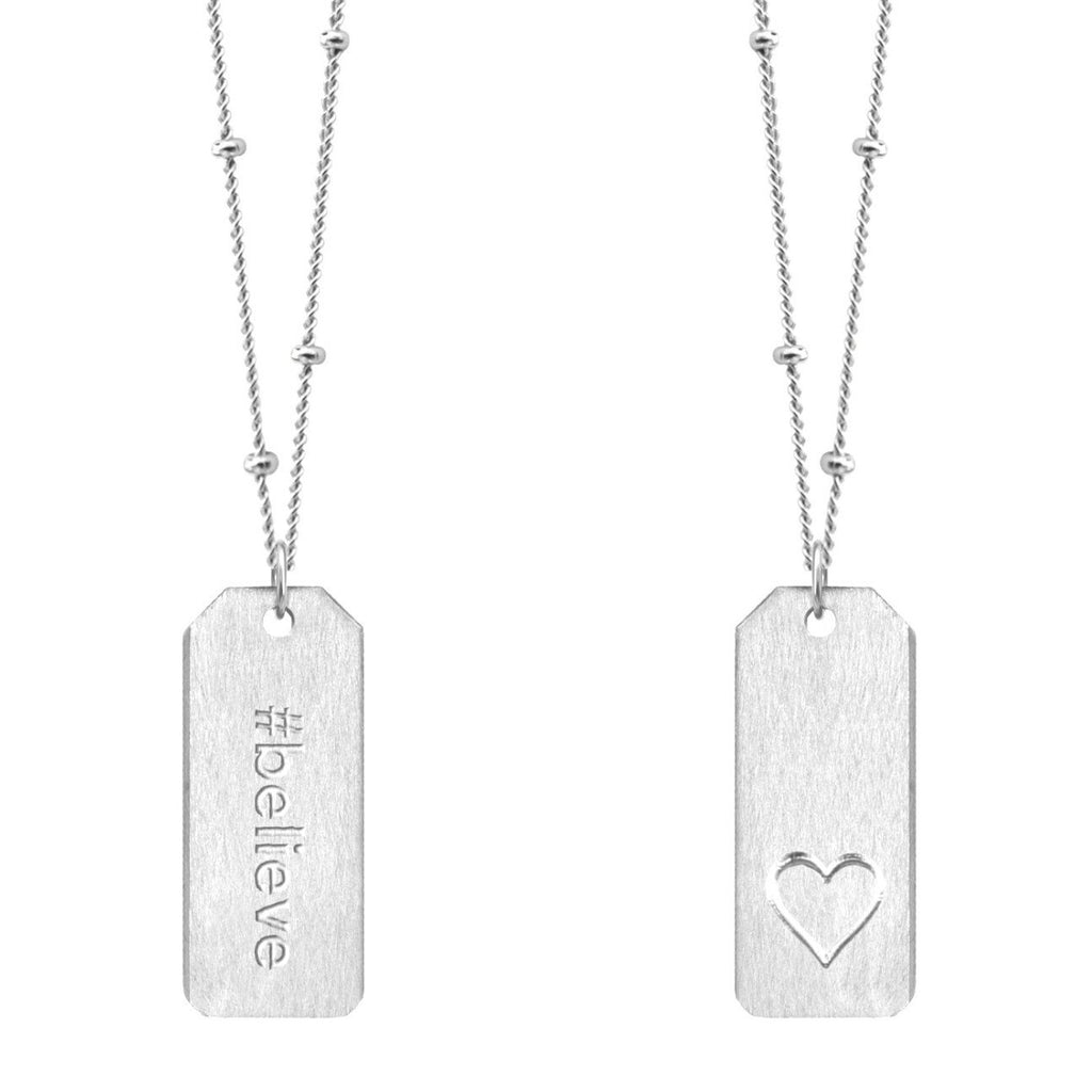Chelsea Charles #believe sterling silver Love Tag necklace