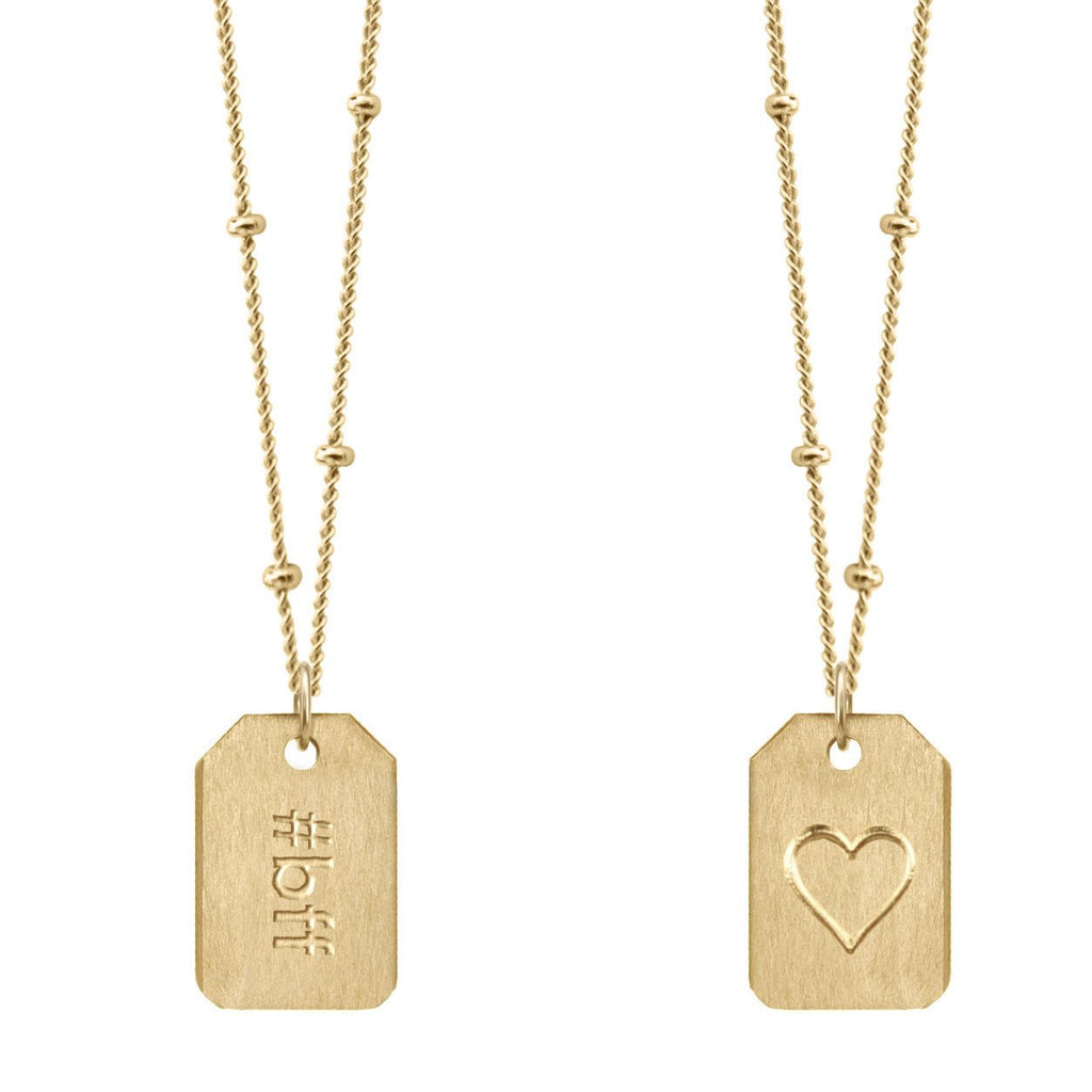 Chelsea Charles #bff gold Love Tag necklace