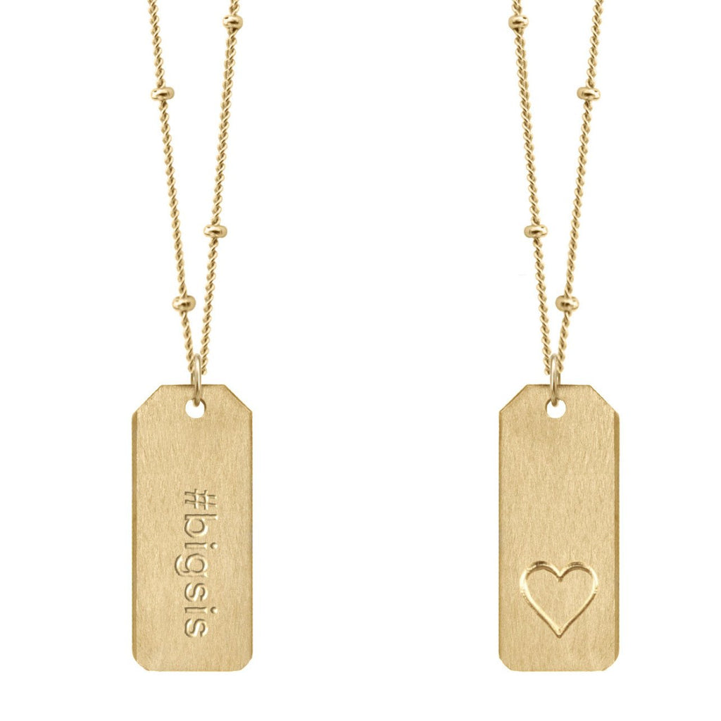 Chelsea Charles #bigsis gold Love Tag necklace
