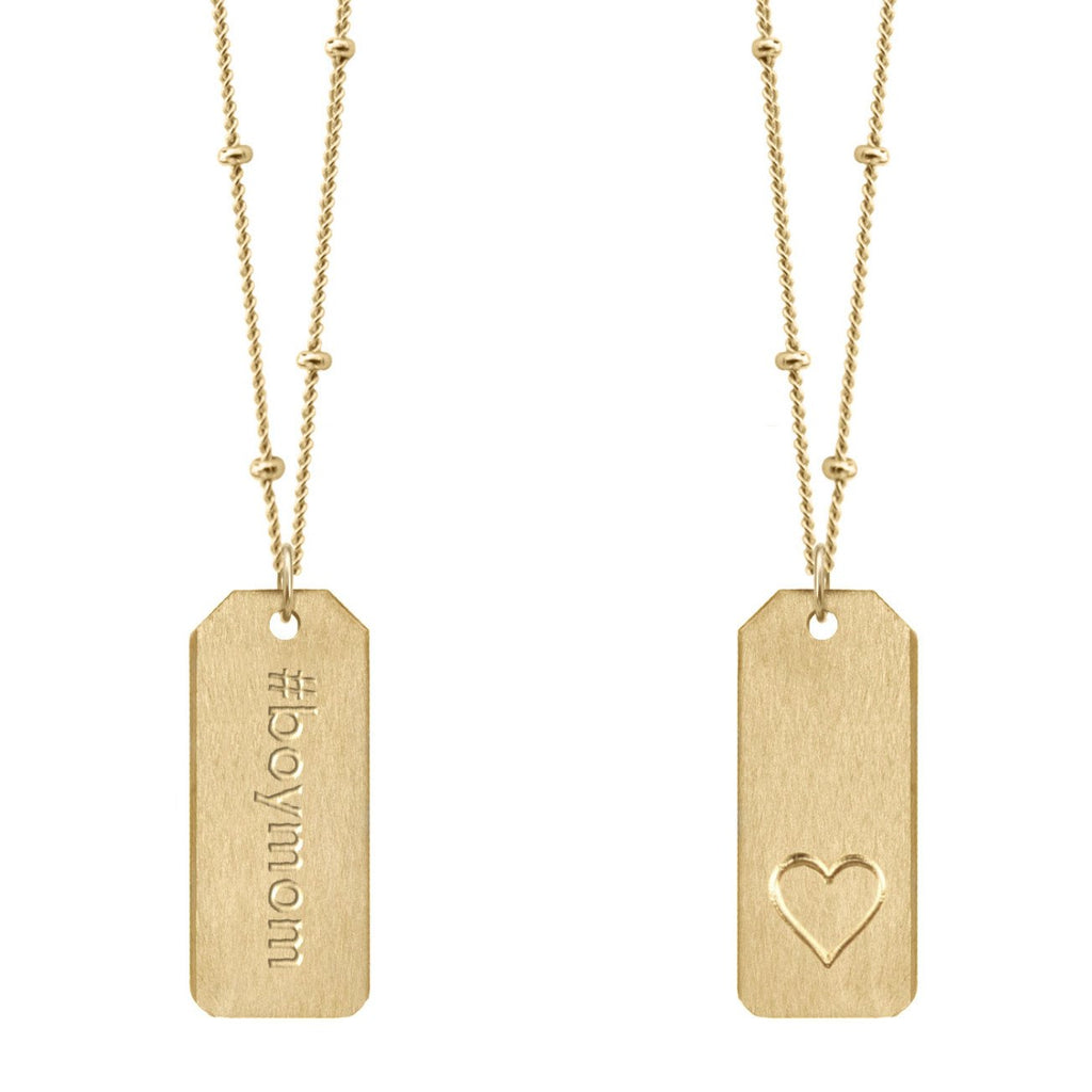 Chelsea Charles #boymom gold Love Tag necklace