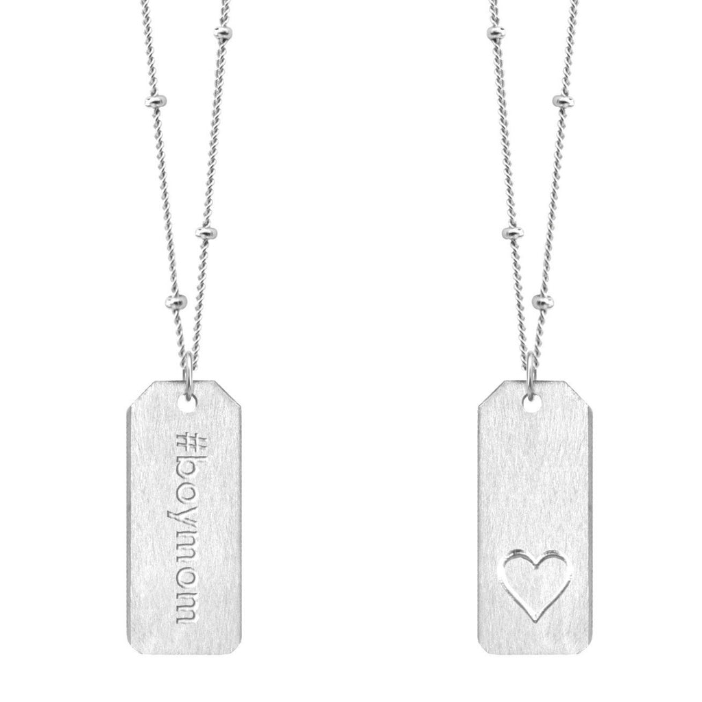 Chelsea Charles #boymom sterling silver Love Tag necklace