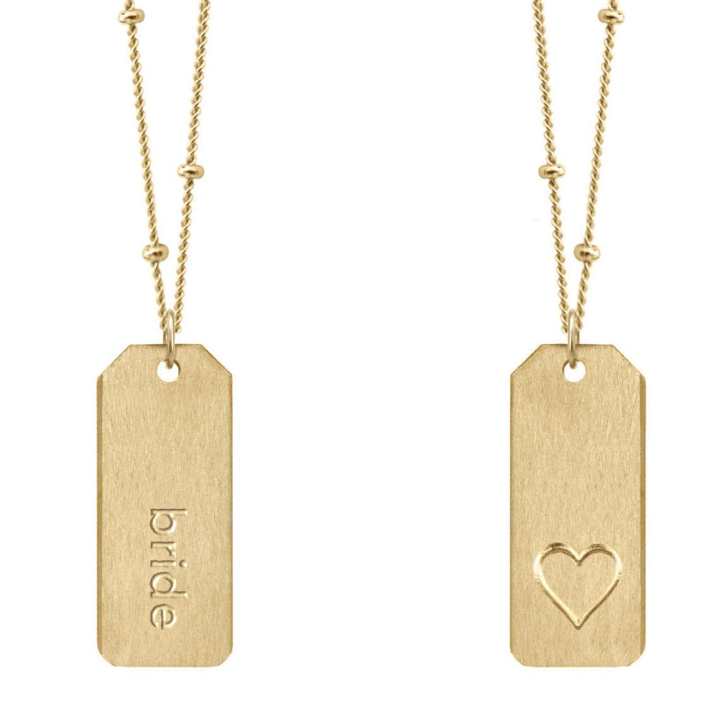 Chelsea Charles bride gold Love Tag necklace