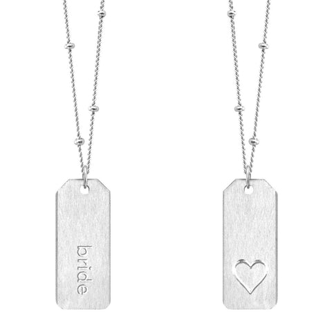 Chelsea Charles bride sterling silver Love Tag necklace