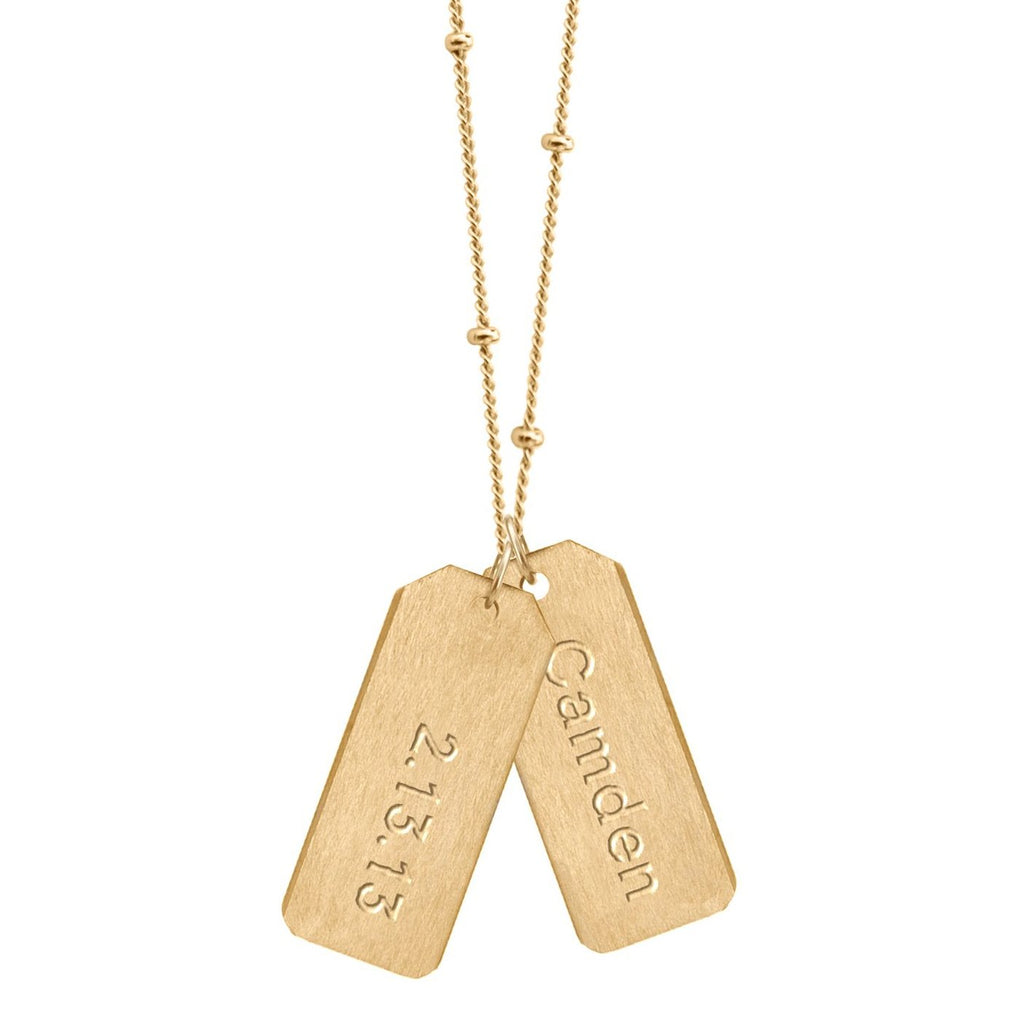 Love Tag Necklace - DESIGN YOUR OWN NAME AND DATE (Two Tags on One Chain)