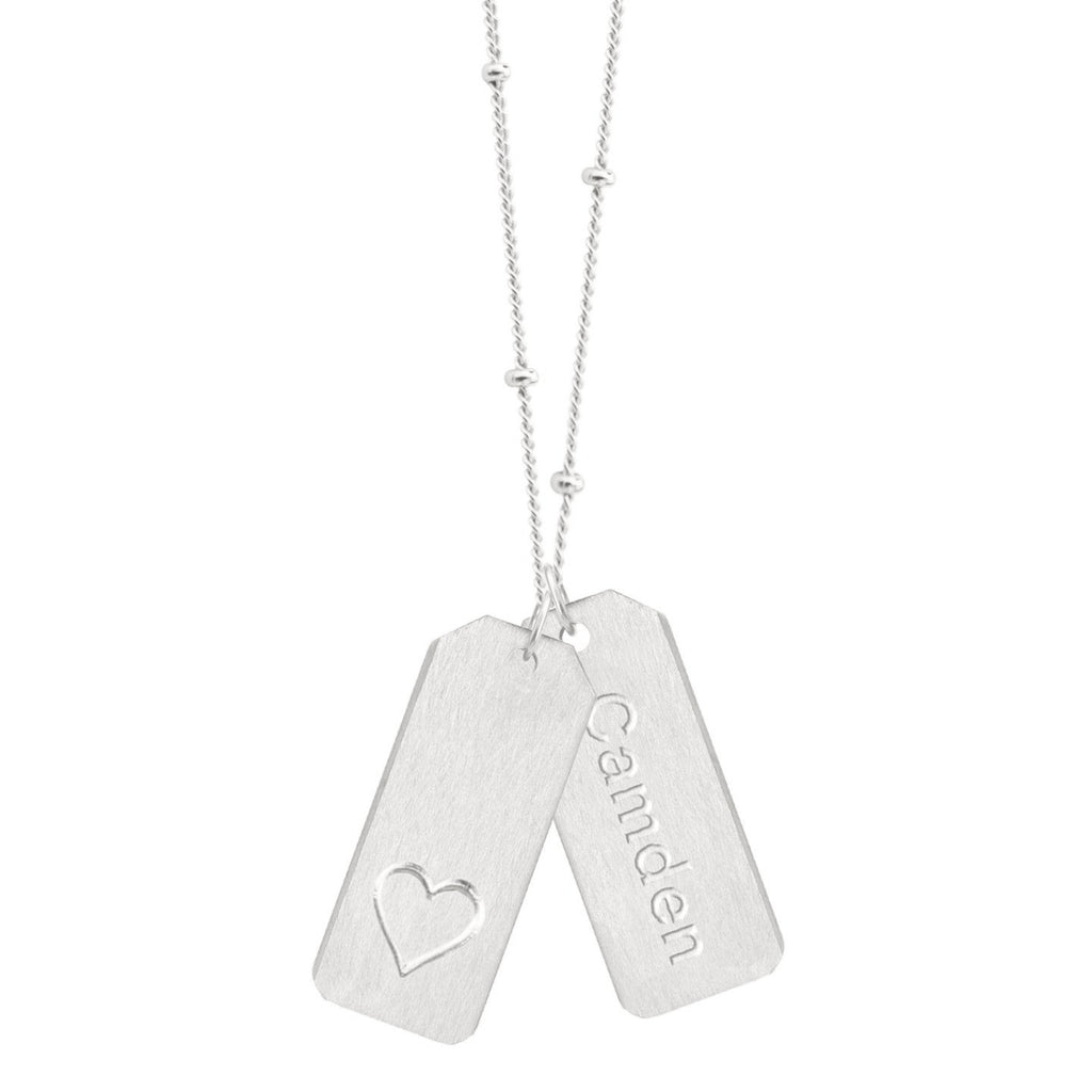 DESIGN YOUR OWN Double Love Tags Necklace (Two Tags on One Chain)