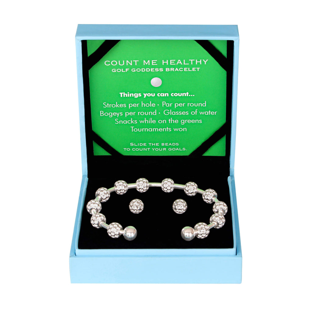 Golf Goddess Gift Set - Silver Golf Ball Bead Stroke Counter Bracelet and Silver Golf Ball Earrings by Chelsea Charles