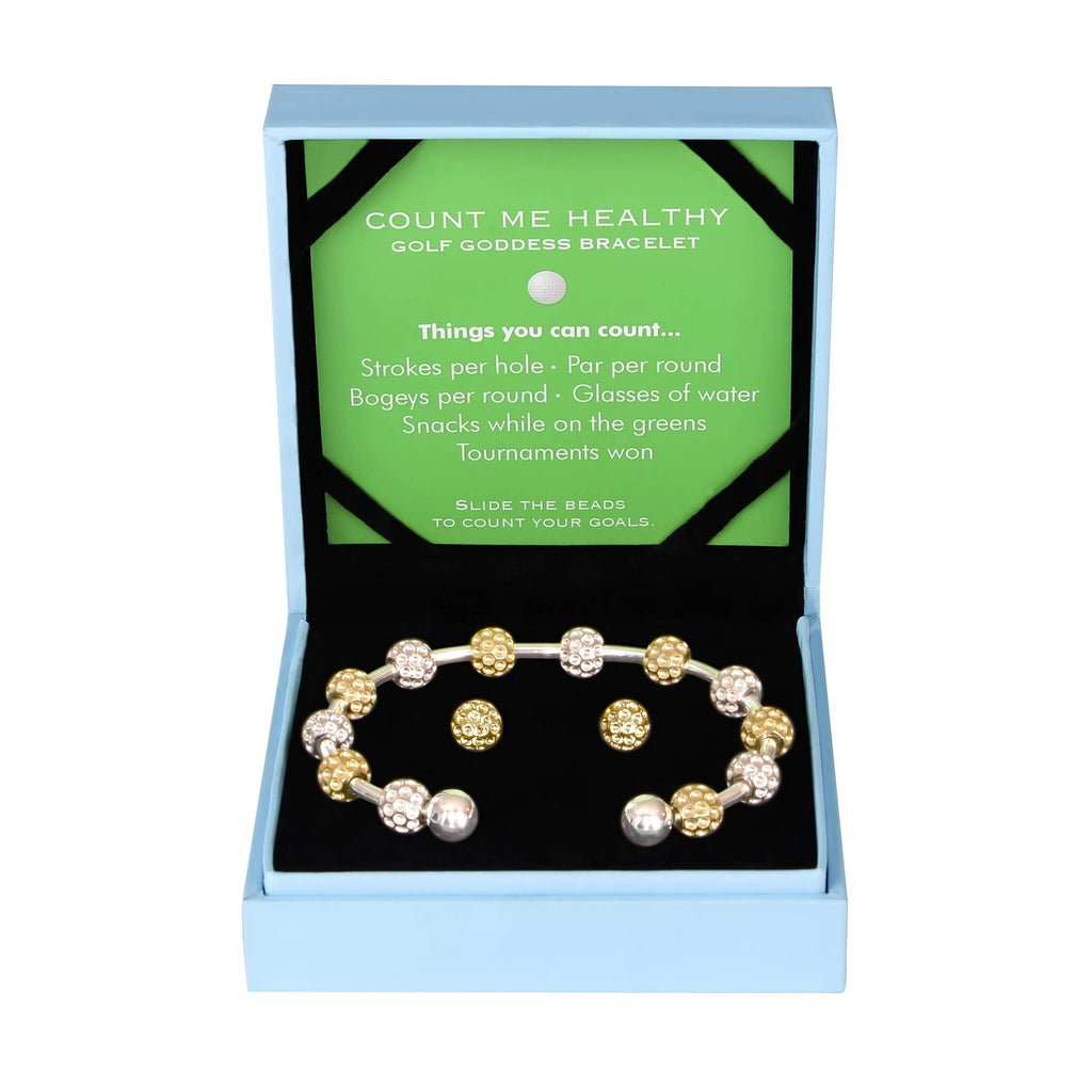 Golf Goddess Gift Set - Two-Tone Golf Ball Bead Stroke Counter Bracelet and Gold Golf Ball Earrings