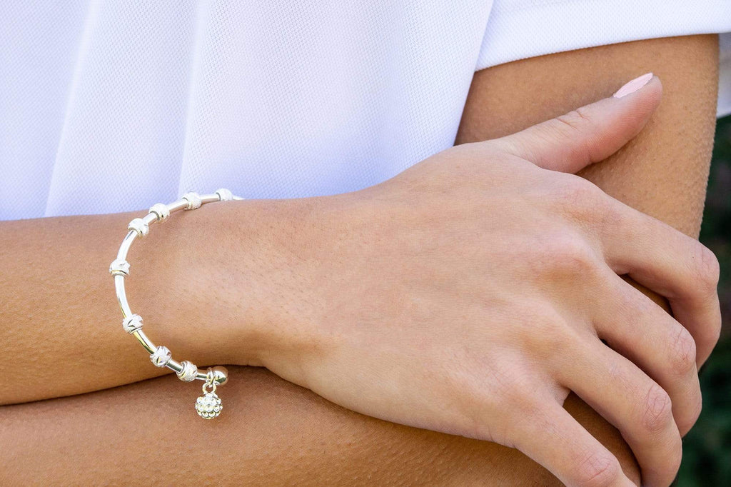 Golf Goddess Silver Stroke Counter Bracelet with Golf Ball Charm by Chelsea Charles