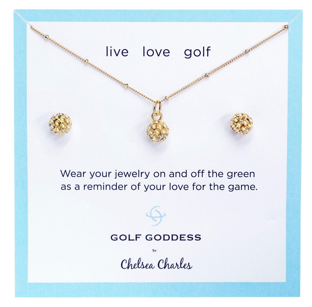 Golf Goddess Gold Golf Ball Necklace and Gold Golf Ball Earrings Gift Set by Chelsea Charles