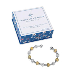 Count Me Healthy Crystal Laurel Silver Two-Tone Bracelet