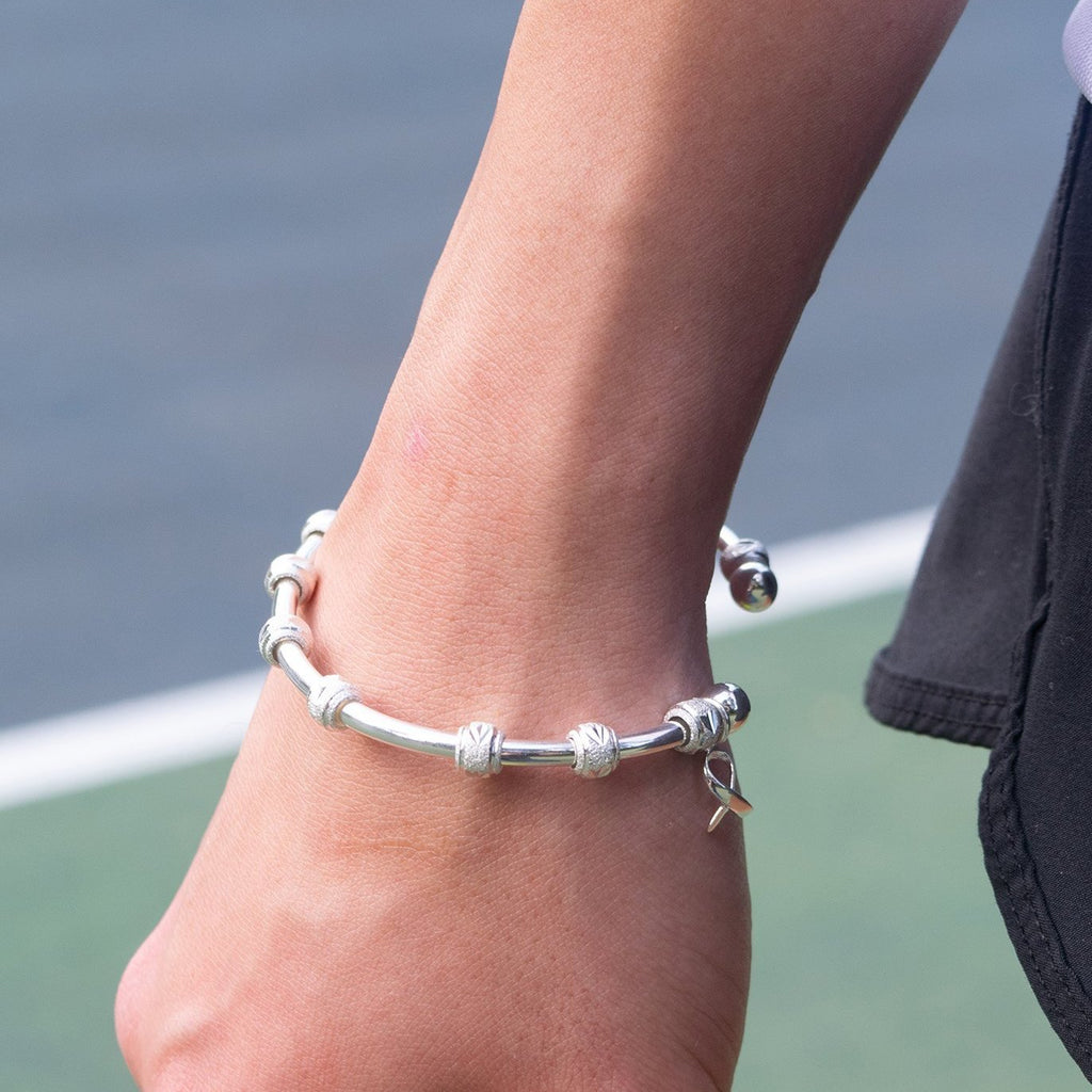 Golf Goddess Silver Stroke Counter Bracelet with Cause Ribbon Charm