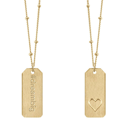 Chelsea Charles #dreambig gold Love Tag necklace