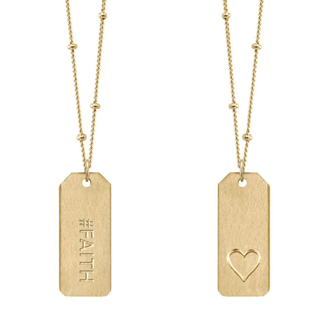 Chelsea Charles #FAITH Love Tag Necklace in 14k gold-filled