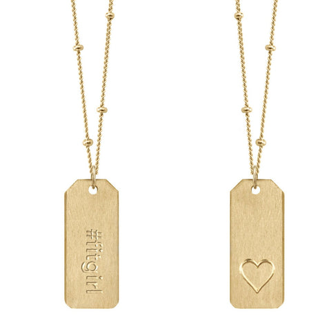 Chelsea Charles #fitgirl Love Tag necklace in 14k gold-filled
