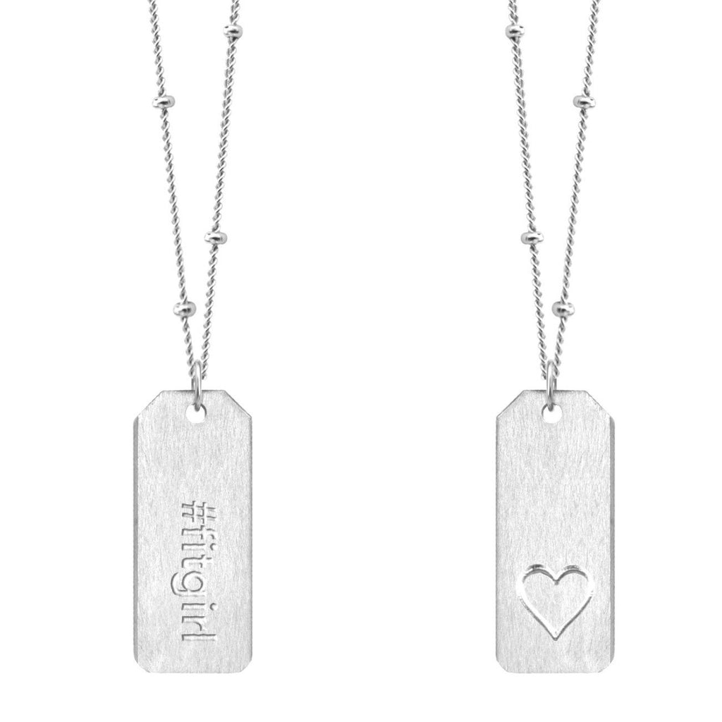 Chelsea Charles #fitgirl Love Tag necklace in sterling silver