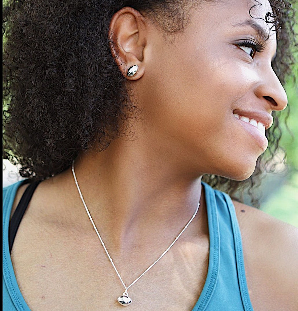 CC Sport Silver Football Necklace and Earrings Gift Set by Chelsea Charles