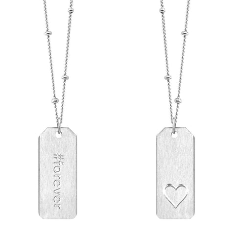 Chelsea Charles #forever sterling silver Love Tag necklace