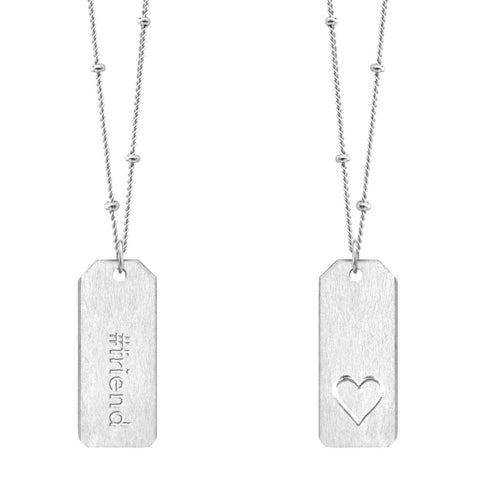 Chelsea Charles #friend sterling silver Love Tag necklace