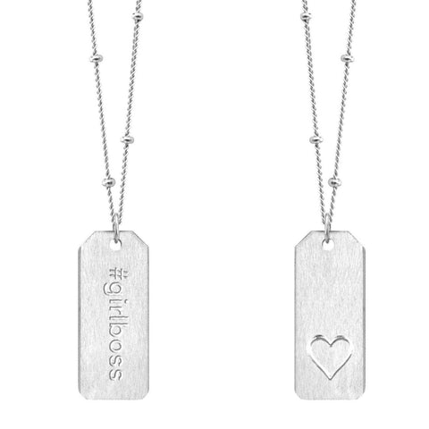 Chelsea Charles Love Tag Necklace #girlboss silver