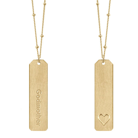 Chelsea Charles Godmother Gold Love Tag Necklace