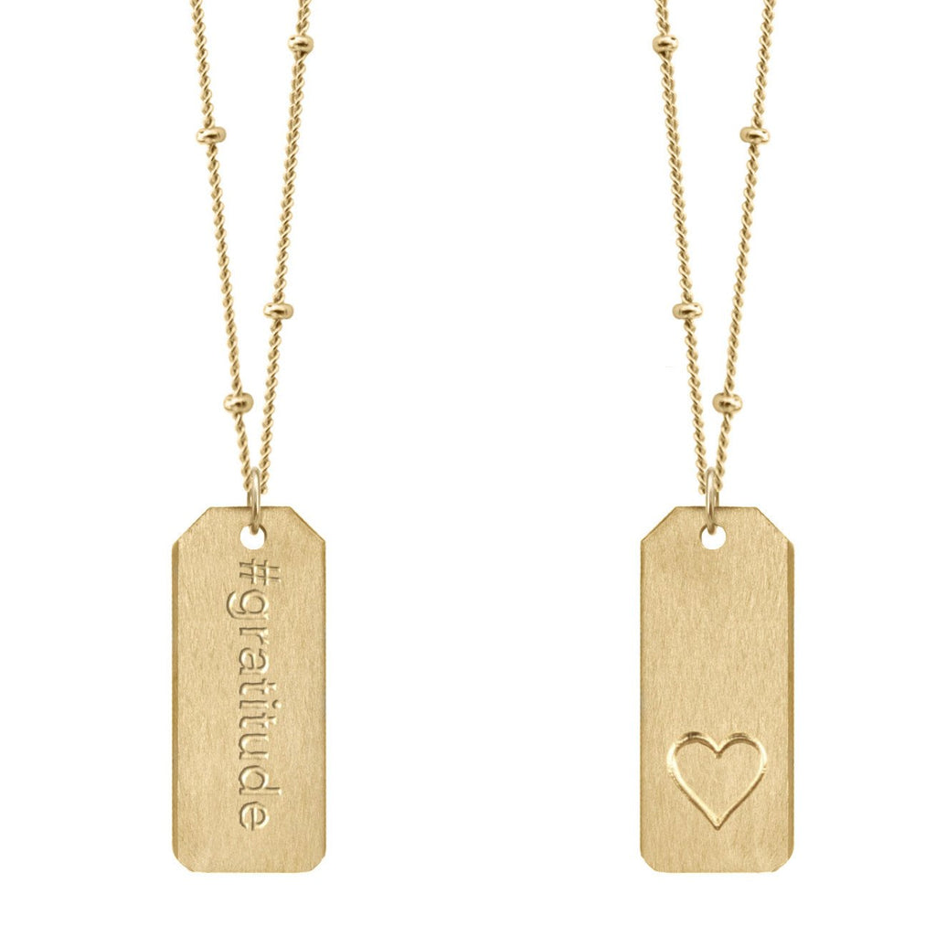 Chelsea Charles #gratitude gold Love Tag necklace