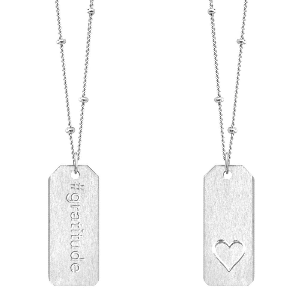 Chelsea Charles #gratitude sterling silver Love Tag necklace